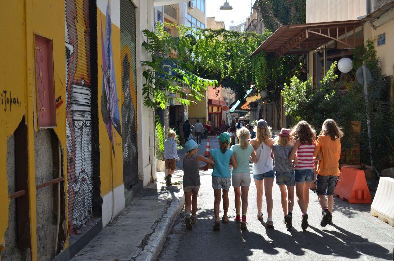 met kinderen in Athene